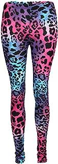 GIRLS KIDS LEOPARD PRINT NEON YELLOW BLACK BRIGHT LEGGINGS SUMMER SALE AGE 7-13