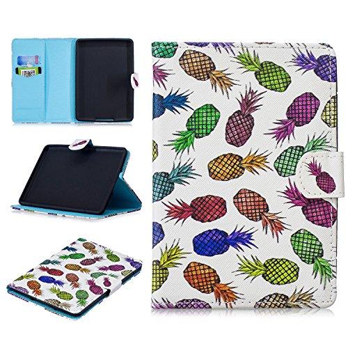 Shinyzone Hülle für Amazon Kindle Paperwhite 1 2 3 4 Tablet,Ultra Dünn Leicht PU Leder Tasche mit Kartenfächer,Magnetverschluss Klapphülle Ständer Schutzhülle,Ananas