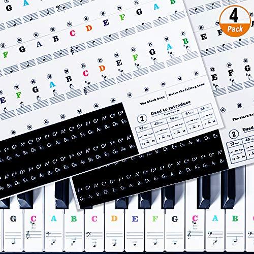 Klavier Keyboard Aufkleber 4 Stück Klavier Keyboard Noten Aufkleber für 37/49/61/88 Tasten, Piano Aufkleber ransparent und Entfernbar Piano Sticker für Weiße und Schwarze Tasten