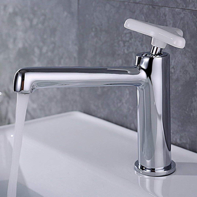 GONGFF Waschtischarmaturen Wasserhahn Kurze Badezimmerschrank einzigen Handgriff heies und kaltes Kupfer Wasserhahn weien Griff Einloch-Waschtischarmatur