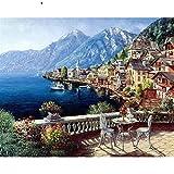 JXMK Color por número Sin Marco Estación LakesidePintura DIY Pintura Digital DIY Set de Pintura al óleo de Regalo 40x50cm