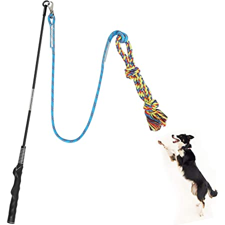 Meieke Flirt Pole Toy for Dogs, Pet Teaser Wand Outdoor Interactive Pet Dog Flirt Pole Training Exercise Rope Toy for Small Medium Large Dogs