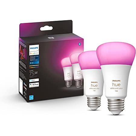 Philips Hue Paquete de 2 bombillas inteligentes A19 de color blanco y color, 1100 lúmenes, compatible con Bluetooth y Zigbee (concentrador opcional), funciona con Alexa y Google Assistant
