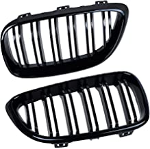 Shinning Black Dual Slat Front Hood Kidney Grilles Grill Compatible with 14-18 BMW F22 / F23 2-Series F87 M2