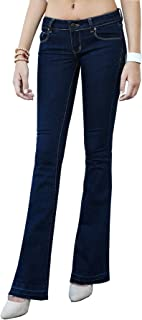 Trend Director Women's Curvy Bootcut Stretch Knit Slim Fit Denim Jeans w Flared Released Contrast Hem