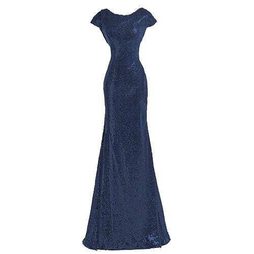 Dark Navy Blue Bridesmaid Dress With Sleeves Amazoncom