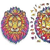 Puzzle en Bois 140 Pièces, Puzzles d'animaux Colorés de Forme Unique (Lion MystéRieux), Idéal pour la Collection de Jeu de Famille, Adapté Aux Adultes et Aux Adolescents