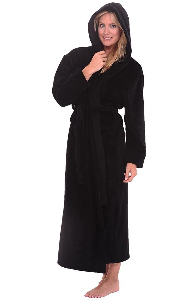 Alexander Del Rossa Womens Plush Fleece Robe with Hood, Solid Bathrobe