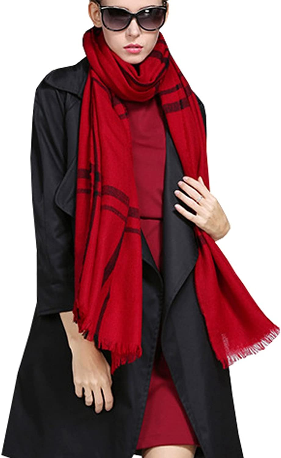 Fashion Silk Women's Wool Scarf 100% Pure Lambswool Reversible Striped Shawl Wrap