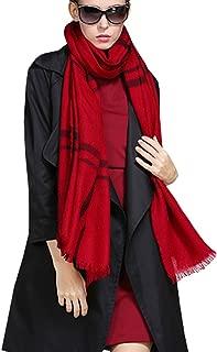 Fashion Silk Women's Wool Scarf 100% Pure Lambswool Reversible Striped Shawl Wrap Red