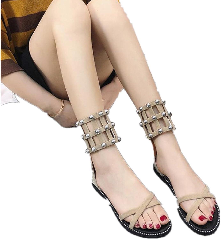 Fheaven Women's Vintage Flat Rivets Open Toe Zipper Beach shoes Roman Hollow Out Mesh Sandals