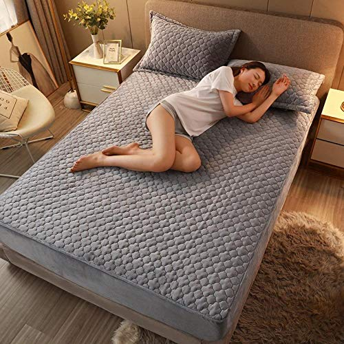 Waterproof Mattress Protector , Anti-mite, Antibacterial,Mattress Topper,Crystal velvet quilted fitted sheet, household non-slip thermal mattress cover for single double king size-gray_180*220cm