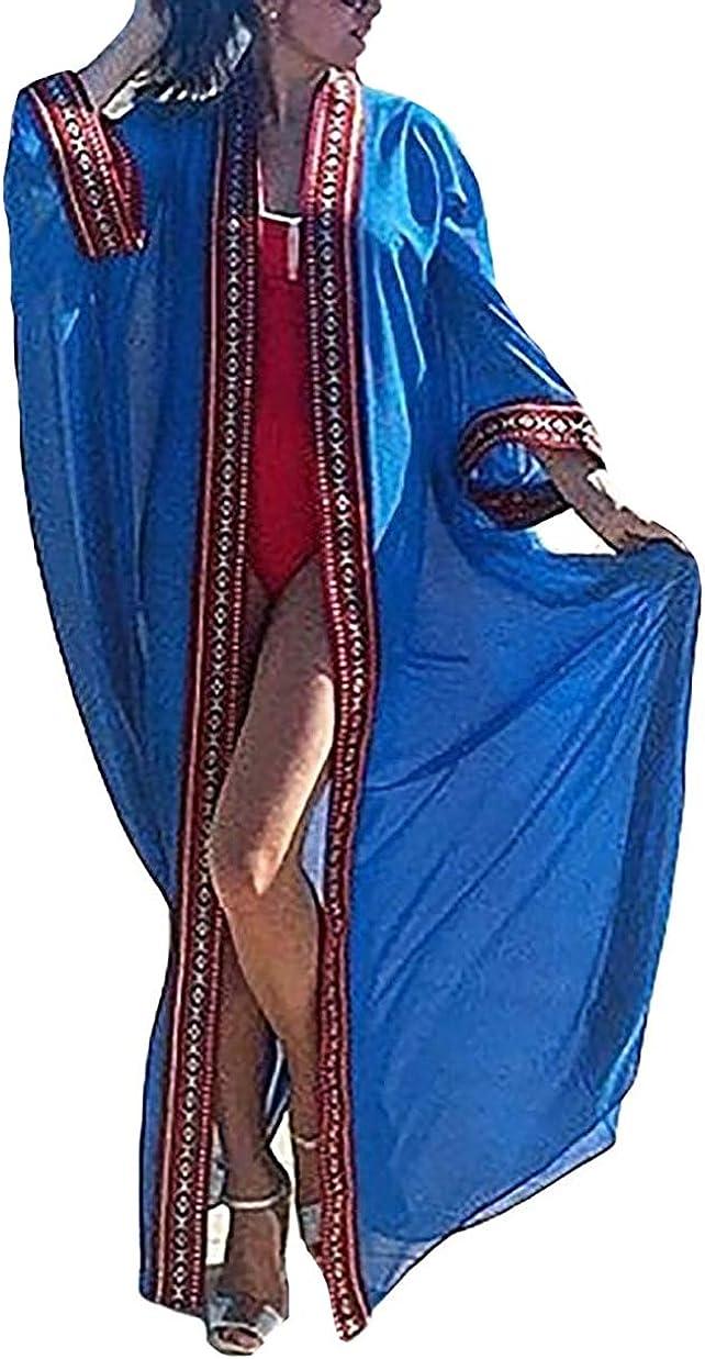 MEILING Women's Sheer Swimsuit Bathing Suit Cover Up Robe Swimwear Long Kimono Jackets Open Front Cardigan