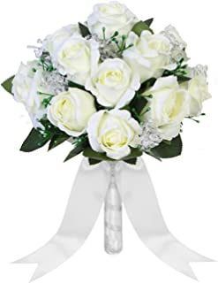 Aivanart Wedding Bouquet Crystal Silk Roses Bridal Wedding Hand Bouquet Bridesmaid Holding Artificial Fake Flowers