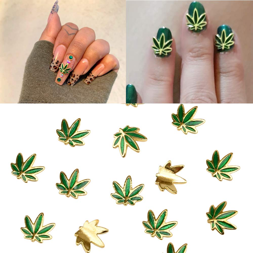 30pcs Gold Metal Now free shipping Green Enamel Plant Jewelry Shape Deco Nail National products Leaf