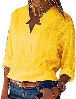 983d8d7068c QiXuan Fashion Women Blouses Shirts Cotton Linen V Neck Long Sleeve Shirt