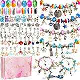 130 Pieces Charm Bracelet Making Kit Including Jewelry Beads Snake Chain DIY Craft Jewelry Gift Set...