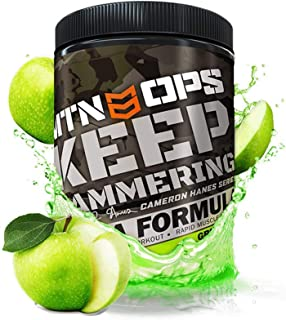 MTN OPS Cameron Hanes Keep Hammering BCAA 2:1:1 Muscle Building & Recovery Supplement - 30 Servings, Green Apple