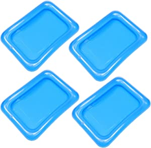DOITOOL 4PCS Inflatable Serving Bar Salad Ice Tray Food Drink Containers, Small Inflatable Buffet Cooler for Party Picnic Camping (Blue)