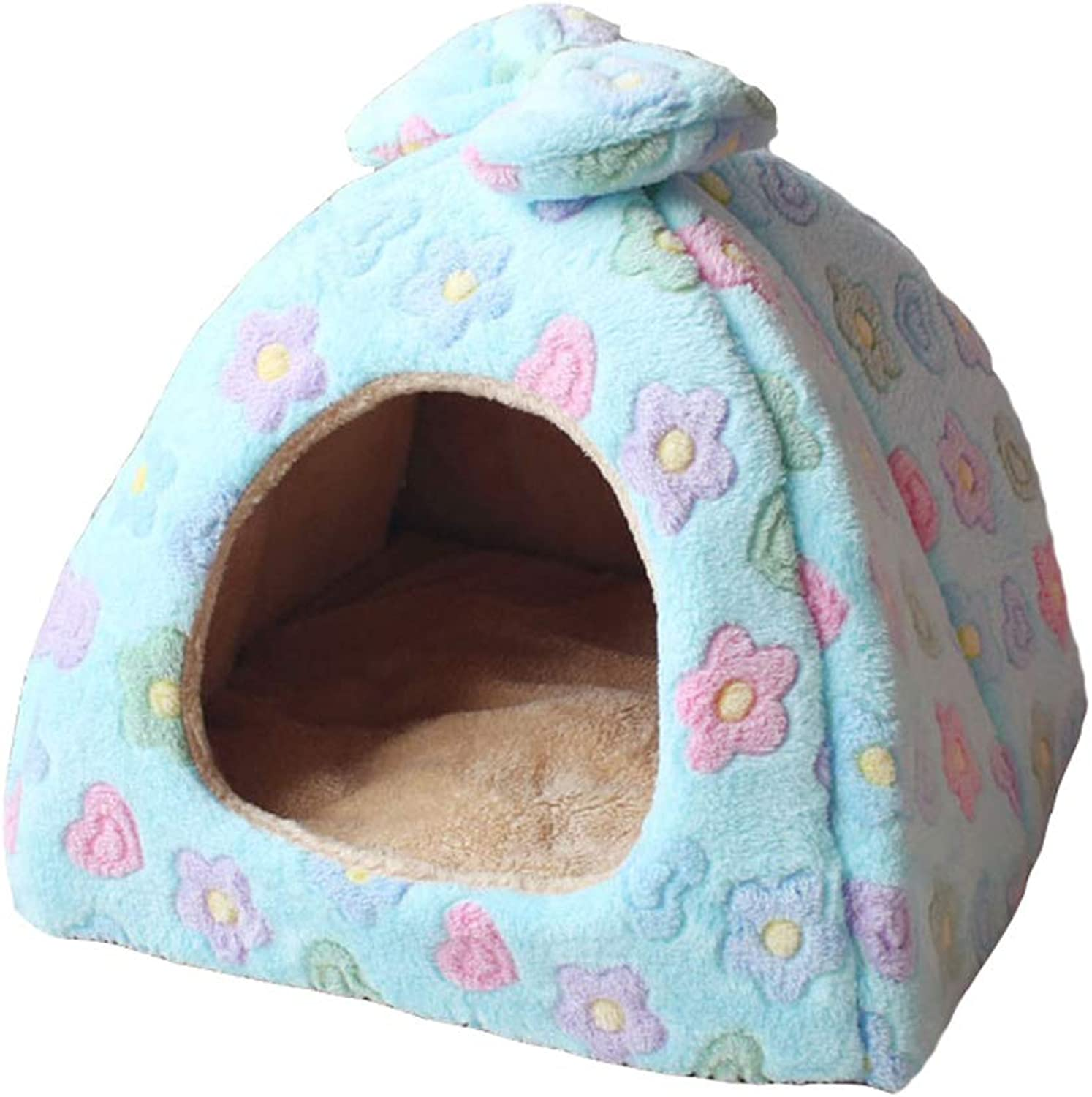 Memory Foam Solid Pet Bed Yurt Cat Litter Small and Mediumsized Dog Teddy Dog House Four Seasons Winter and Summer Dualuse Foldable Flower Dog Bed Medium Large (Size   Large)