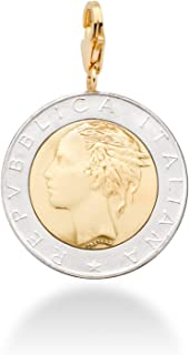 MiaBella 18K Gold Over Sterling Silver Genuine Italian 500 Lira Coin Charm, for Bracelet and Necklace Chains Women Men