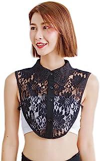HCY Women's Lace Flower Detachable Fake Collar Half Shirt False Collar Decor Dickey Collar