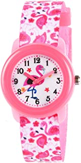 Venhoo Kids Watches Cute Cartoon Waterproof Fabric Strap Children Toddler Wrist Watch for 3-10 Year Girls Little Child-Pink Flamingo