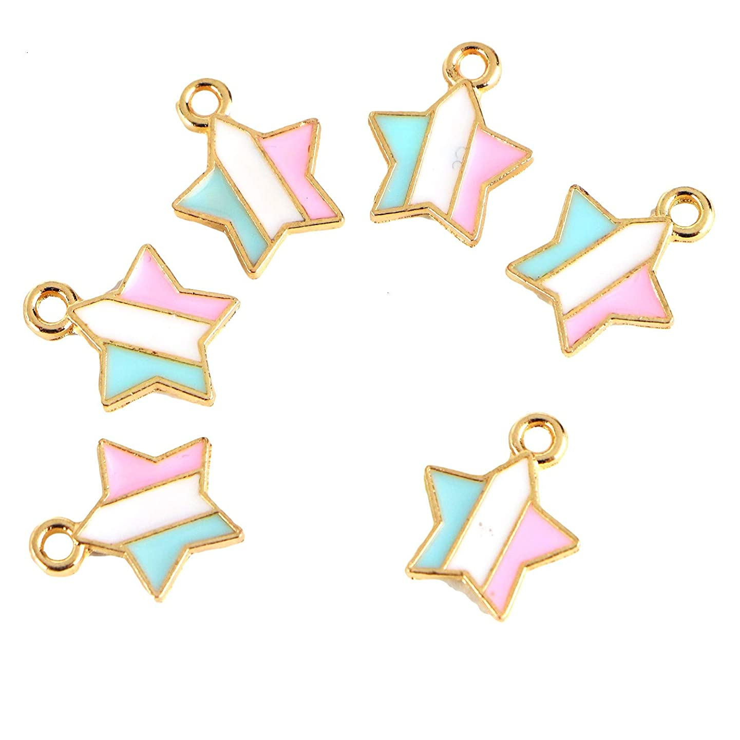 Monrocco 50Pcs Enamel Star Charm 14x12mm Alloy Star Charms Bulk Star Charm Pendants for Jewelry Making and Crafting