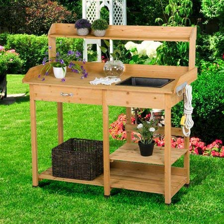Potting Table-Potting Benches for Outside- Natural Fir Wood with Sink Drawer Rack Shelves - If You Love to Garden and to Plant, This is The Perfect Potting Bench for You