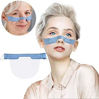 Unisex Transparent Mini Face Coverings,Washable Reusable Open Up Clear Face Protector for Adults