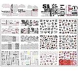 YDZS 12 diseños de uñas Pegatinas Conjunto Mixto de uñas geométrico Floral Chica de Transferencia de Agua del Arte Calcomanías Tatuajes Sliders manicura Arte de Clavos (Color : BN877 888)