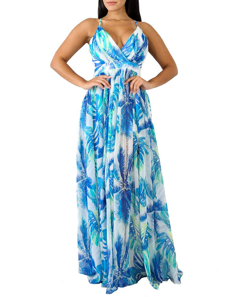Available at Amazon: Remelon Women's Sexy Spaghetti Strap Deep V Neck Floral Boho Criss Cross Backless Chiffon Beach Party Long Maxi Dress