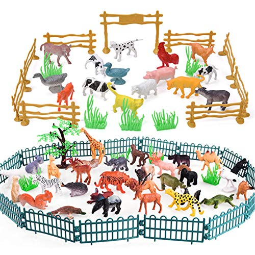 BESTZY Modelos De Animales 82Pcs Animales De la Selva Juguetes para niños Aprendizaje Playset Educativo Favores de Fiesta Regalos