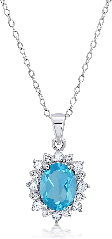 gift Sterling Silver Sunburst Halo Oval Max 48% OFF Shape Gemstone Neckla Pendant