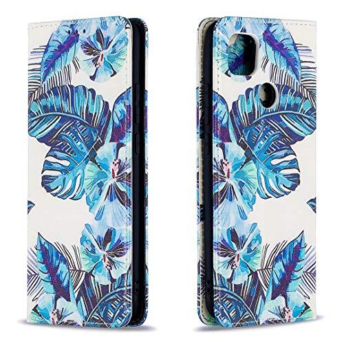 Miagon Brieftasche Hülle für Xiaomi Redmi 9C,Kreativ Gemalt Handytasche Case PU Leder Geldbörse mit Kartenfach Wallet Cover Klapphülle,Blatt
