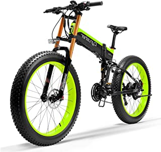 Cyrusher XF690 Motorcycle Style Electric Bike 750W Bafang Motor 7 Speeds Fat Tire Mountain Bike for Adults Full Suspension...