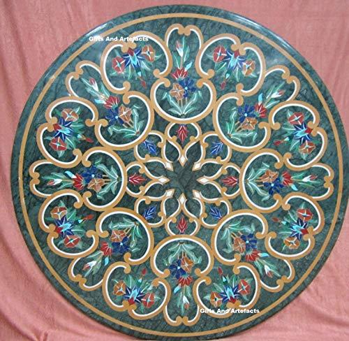 Cadeaus en voorwerpen ronde vorm marmer bank tafelblad marmer salontafel top inlay werk kan worden gebruikt als tuintafel, balkontafel, 30 inch