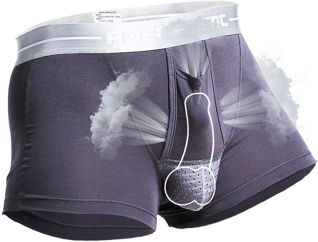 Gergeos Boxer Briefs Men's Breathable Underwear Bullet Separation Scrotum Physiological Underpants