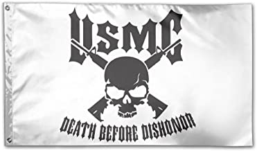 USMC Death Before Dishonor Breeze 3 X 5 Flag - Brass Washer Vivid Color And UV Fade Resistant - USMC Death Before Dishonor Polyester With Brass Grommets 3 X 5 Ft