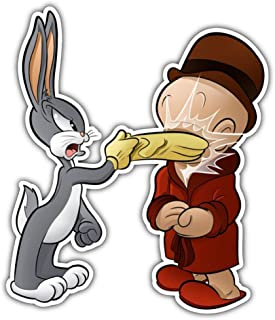 cartoon Bugs Bunny Elmer Fudd Battle Car Bumper Sticker Decal 4'' X 5''