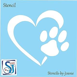 Joanie Stencil Pet Dog Paw Print Heart Love Animal Track DIY Shapes (7