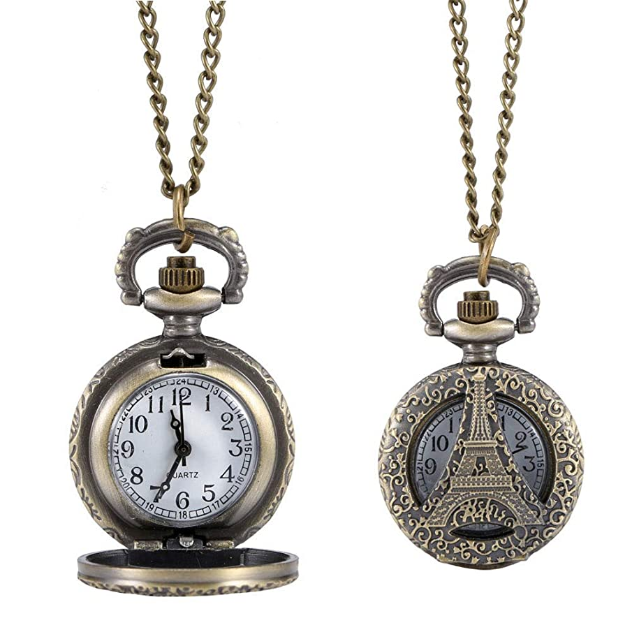 Brawdress Fashion Vintage Quartz Pocket Watch Alloy Hollow Out Eiffel Tower Sweater Chain Necklace Pendant Clock Gifts