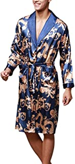 Dressing Gown Men's Lightweight Long Sleeves Home Bathrobe Comfortable Sizes Luxury Men's Silk Nightgown Comfortable Loung...