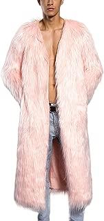 JTENGYAO Men's Faux Fur Coat Long Overcoat Lapel Outerwear Winter Jacket Parka Coat