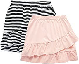 UNACOO 2 Packs 100% Cotton Tiered Ruffle Skirt with Elastic Waistband for Girls