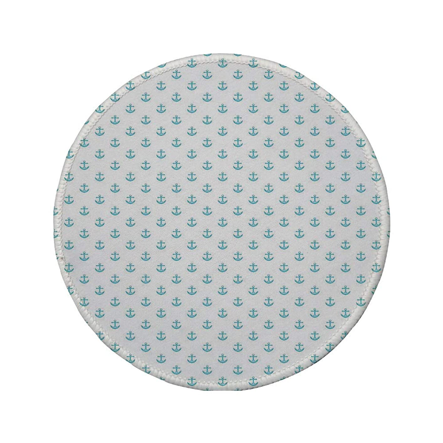 Non-Slip Rubber Round Mouse Pad,Anchor,Blue Small Vivid Icons Pattern Cartoon Style Transportation Vessel Oceanic Life Decorative,Sky Blue White,7.87