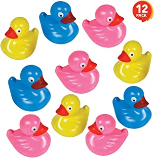 ArtCreativity Floating Plastic Duck Toys - Pack of 12 - Durable Duckie Bath Tub Water Toys for Kids, Carnival Theme Party Supplies, Birthday Party Favors and Goodie Bag Fillers