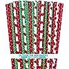 Outside theボックス・ペーパーレッド、ホワイト、緑シェブロン、ポルカドットとスイカテーマ用紙Drinking Straws 7.75インチ100個パックレッド、グリーン、ホワイト