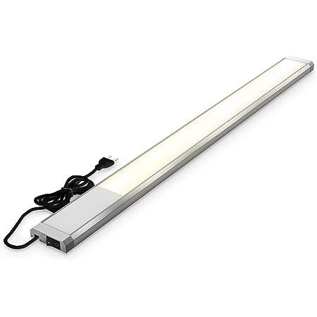 B.K.Licht I réglette LED de 10 W I 1100 lumens I longueur : 57,5 cm I 3 000K couleur de lumière blanche chaude I IP20 I lampe d'armoire I lampe de cuisine I lampe d'atelier