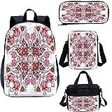 Juego de mochila escolar y bolsa de almuerzo de 15 pulgadas, diseño de temporada de primavera 4 en 1